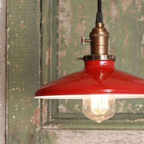 Pendant Light With Red Enamel Shade By Lucent Lworks