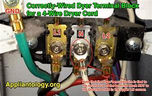 Correctly Wired Dyer Terminal Block For A 4 Wire Dryer Cord