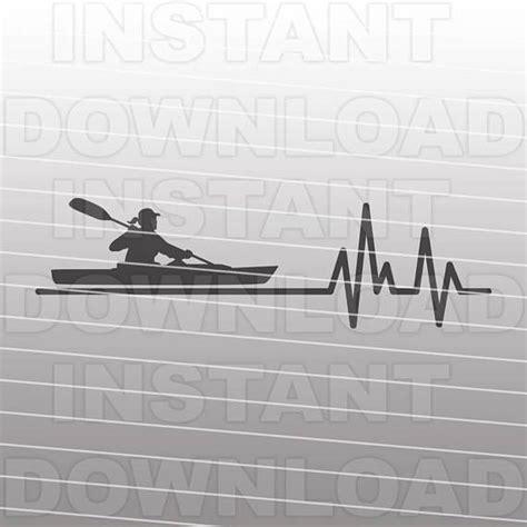 ekg heartbeat kayaking svg filefemale kayaker svggirl etsy kayaking silhouette cameo vinyl