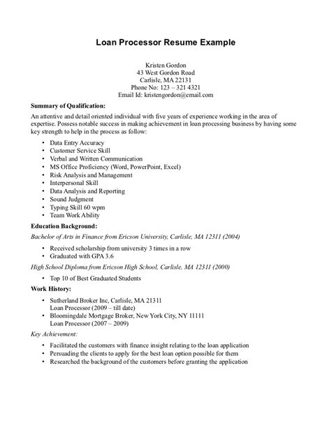 Resume Template For Mortgage Loan Processor by Resume For Loan Processor Position Loan Processor Resume