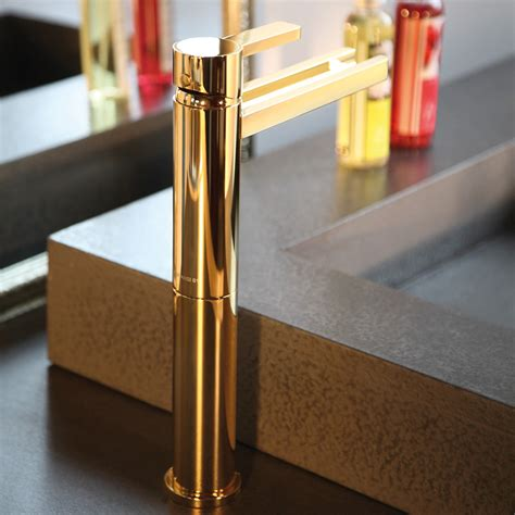 Modern Gold Bathroom Faucets by Aqua Polished Gold Modern Bathroom Faucet