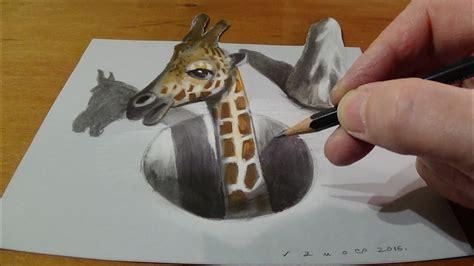 trick art drawing  giraffe   hole  illusion