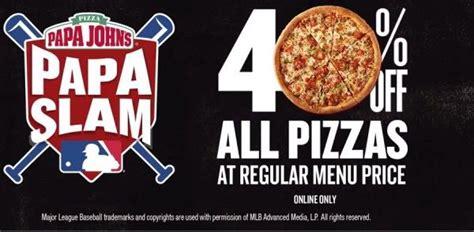 50718 Grand Slam Promo Code Papa Johns by Another Grand Slam Get 40 All Pizzas At Papa S