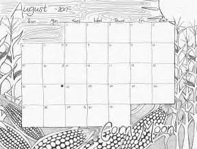 2017 Calendar August Coloring Pages