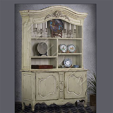 French Country Provence Hutch Parchment China Cabinet Ebay
