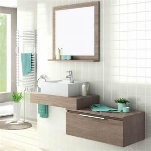 plan vasque salle de bain 70 cm 1 tiroir option miroir With miroir salle de bain 70 cm