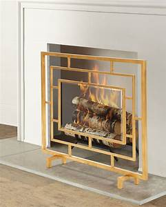 Antiqued, Gold, Glass, Panel, Fireplace, Screen