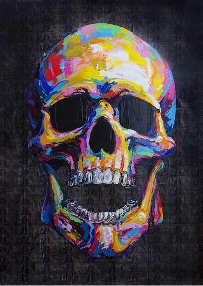 Skull Colorful Painting Sfondi Telefono Paintings Skulls