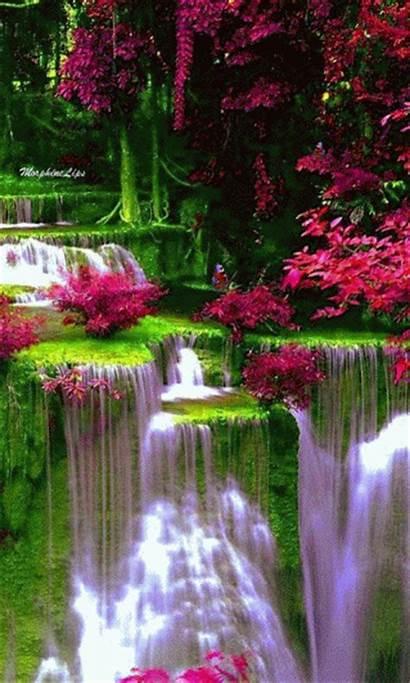 Waterfall Animated Colorful Gifs Cascada Waterfalls Moving