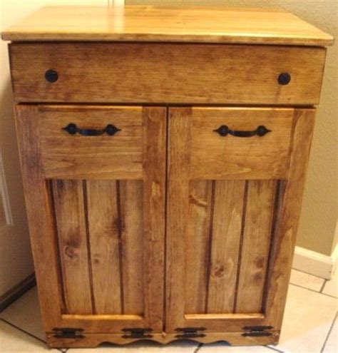 double trash recycling bin cabinet wood double barrel cabinet for the home pinterest trash