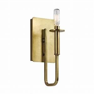 shop kichler alden 5 in w 1 light natural brass candle With lowes wall sconces
