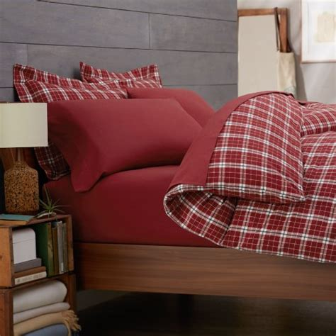 queen flannel duvet cover pinzon lightweight cotton flannel duvet cover bordeaux plaid new ebay