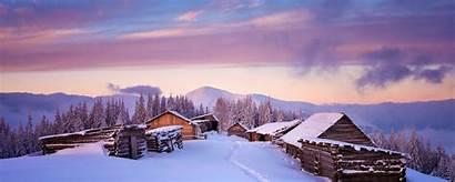 Winter Landscape Houses Sunset Background Dual