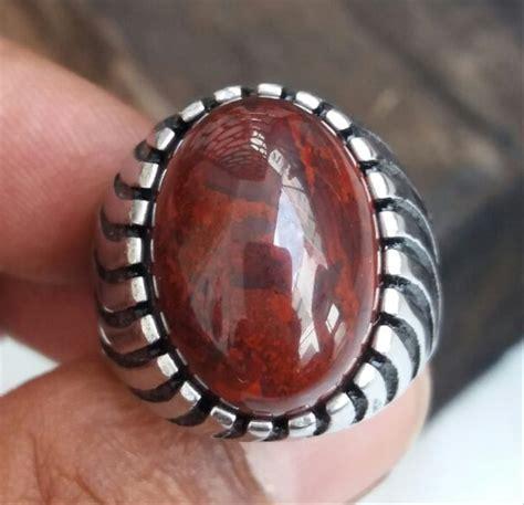 jual batu cincin natural badar besi merah original nempel magnet di lapak jaya permata