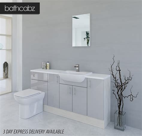 Fitted Bathroom Cupboards by Light Grey White Avola Bathroom Fitted Furniture 1700mm