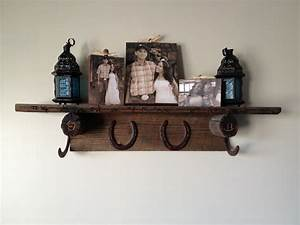 Barn Wood  Horseshoes  And Barbed Wire Shelf