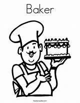 Coloring Baker Chef Cook Cooking Drawing Cake Printable Hat Grow Clipart Want Twistynoodle Pages Outline Noodle Template Twisty Pizza Login sketch template