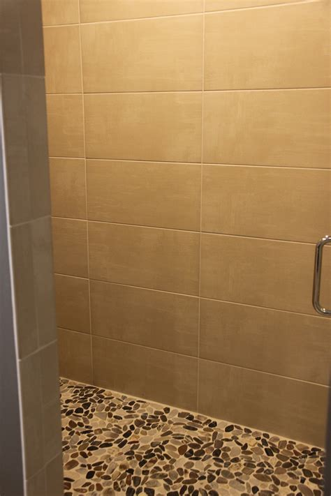 Subway Tile Shower with Glass Tile Wall Insert Feature