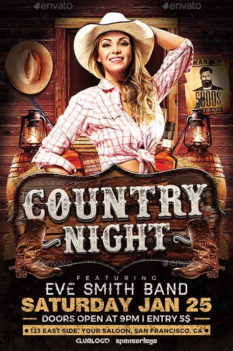 country poster template download the country night flyer template