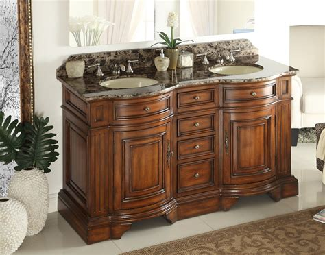 Bathroom Vanities 60 Inches Sink by Adelina 60 Inch Sink Bathroom Vanity Chestnut Finish