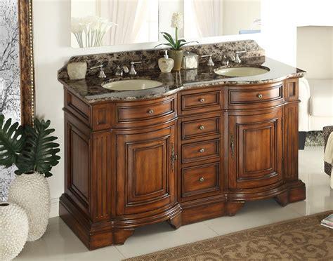 Adelina 60 Inch Double Sink Bathroom Vanity Chestnut Finish