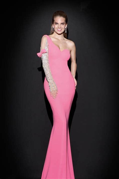 sheath  shoulder sleeved pink satin evening prom dress