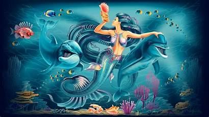 Mermaid Dolphins Fantasy Wallpapers Dolphin Mermaids Desktop