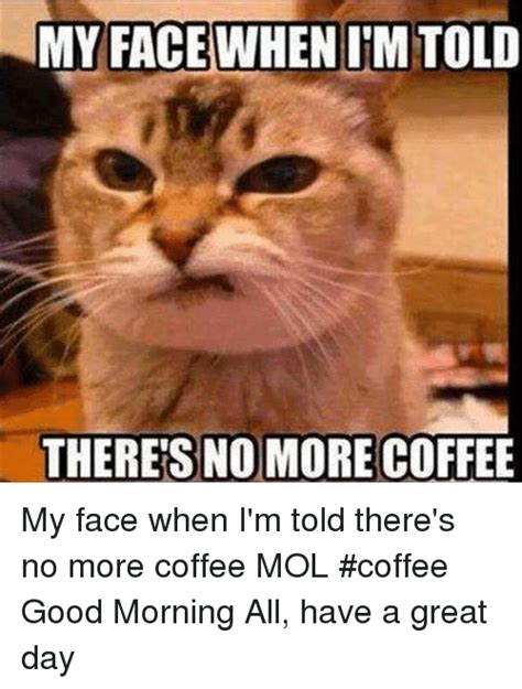 101 funny saturday memes will make you laugh from morning. IM TOLD THERE'S NO MORE COFFEE My Face When I'm Told There's No More Coffee MOL #Coffee Good ...