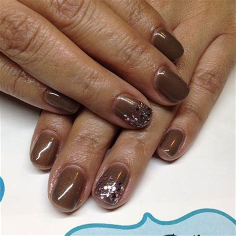 brown  pink glitter accent nail art gallery