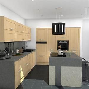 cuisine bois verni rustique modele basilit bois verni With meuble de salle a manger avec prix cuisine en l