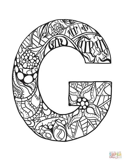 Letter G Zentangle coloring page | Free Printable Coloring ...