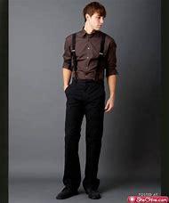 Men Suit with Suspenders