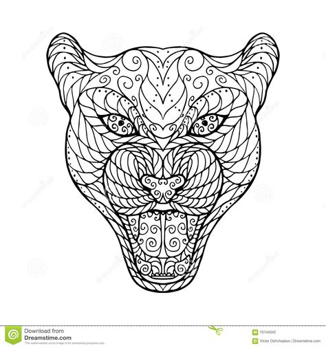 zen tangle head  jaguar stock vector image