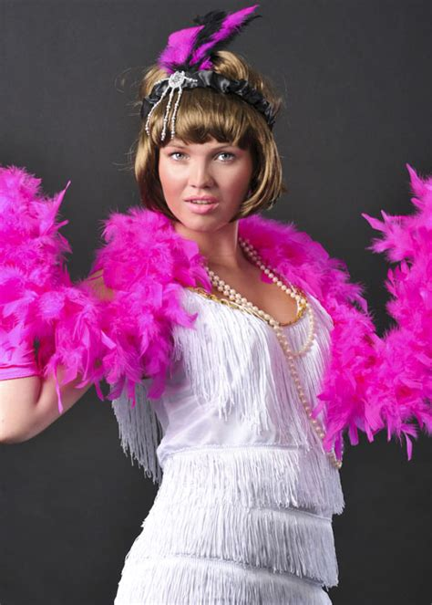 flapper girl bright pink feather boa ac