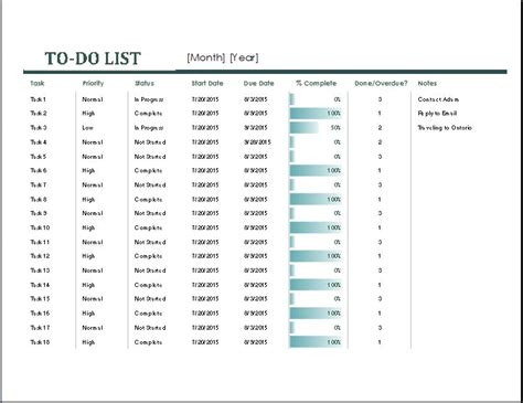 monthly task list template list template document