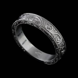 14k solid white gold art deco style engraved mens wedding With men s engraved wedding ring