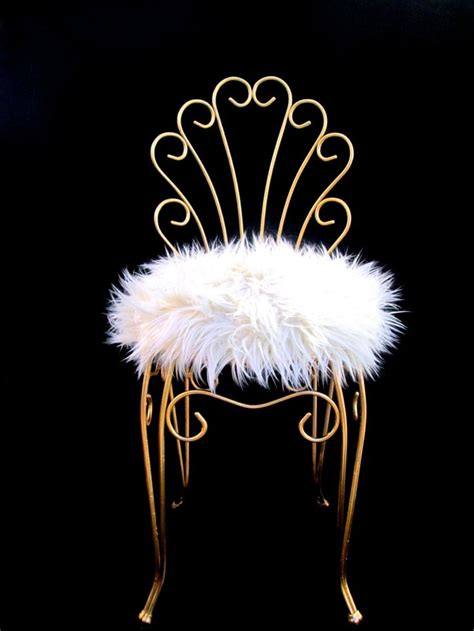 vintage regency gold metal faux fur vanity