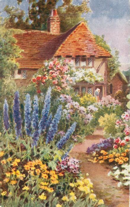 Garden In Front Of Tiled Cottage, Path Leading Up, Lady In