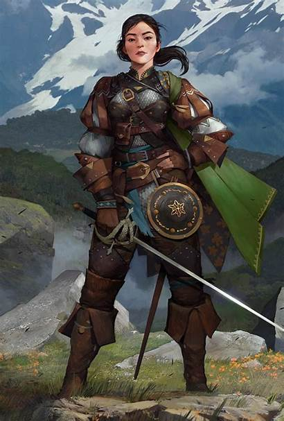 Fighter Armor Character Sword Leather Female Human