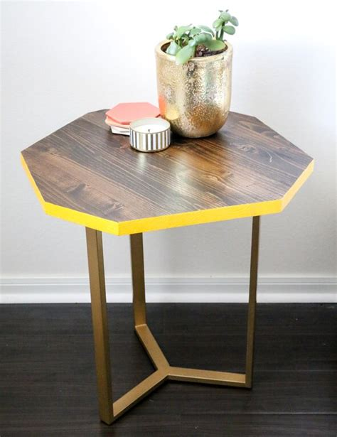 diy wood gold geometric accent table tutorial