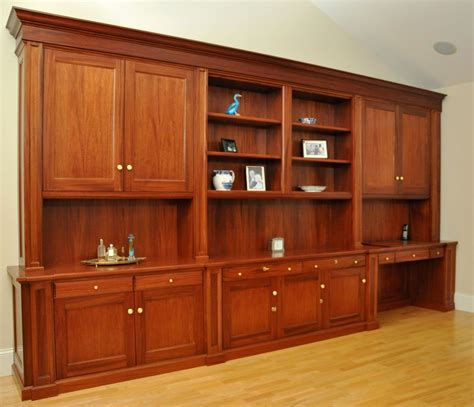hand  traditional mahogany wall unit home office desk