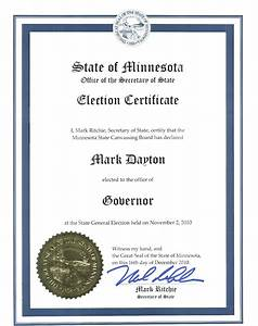 Governor-Elect Mark Dayton Gets An Election Certificate ...