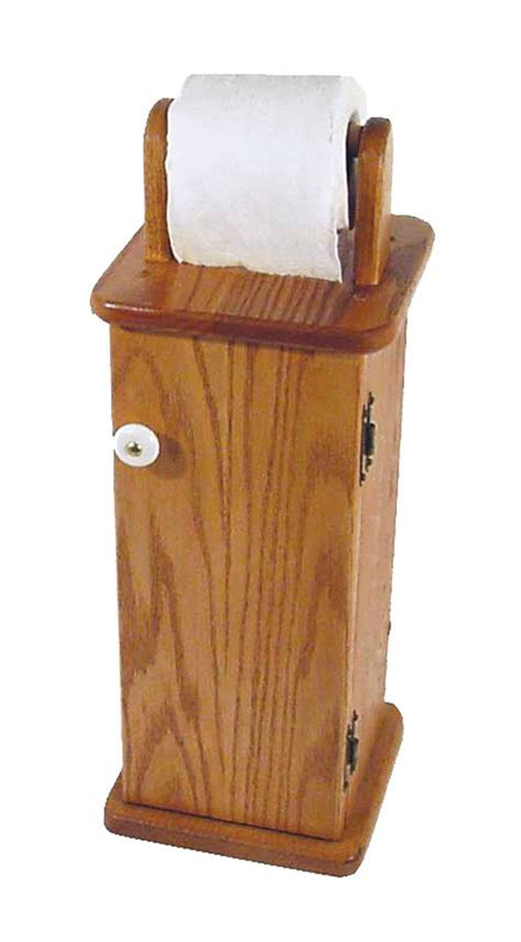 Solid Oak Toilet Paper Holder and Storage Cabinet No