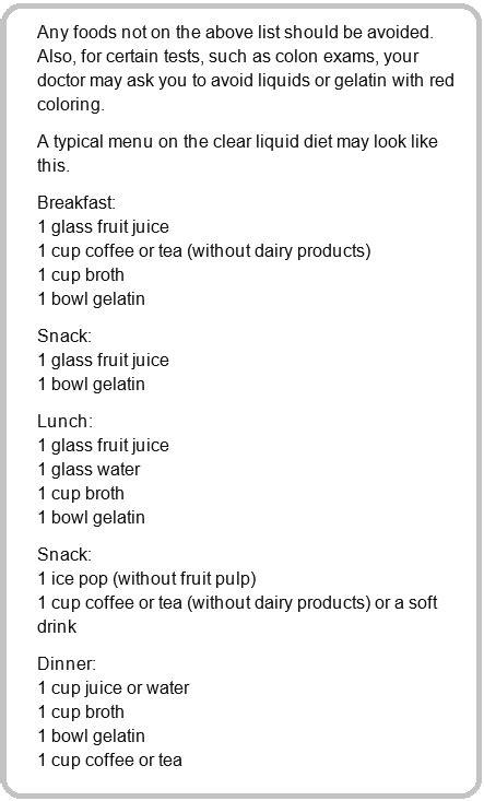 Colonoscopy Clear Liquid Diet Foods List