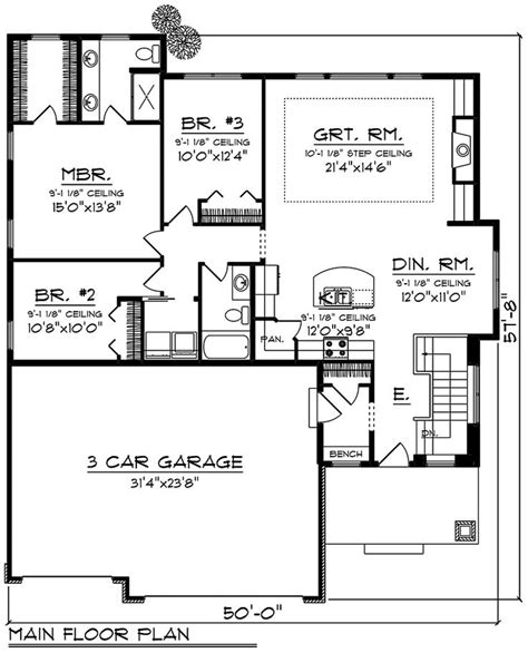Ranch Style House Plan 75428 with 3 Bed 2 Bath 3 Car