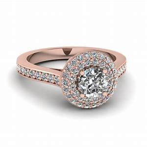round cut diamond engagement ring in 14k rose gold With round wedding ring
