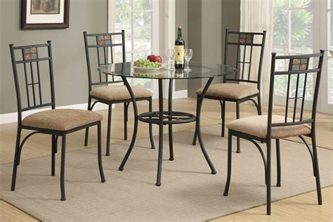 Berkley 5pc Round Glass Top Dining Table Set