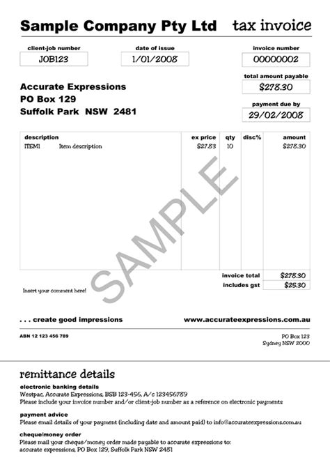 tax invoice template australia invoice
