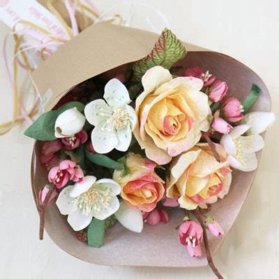 paper flower gift bouquet ivory white green yellow pink