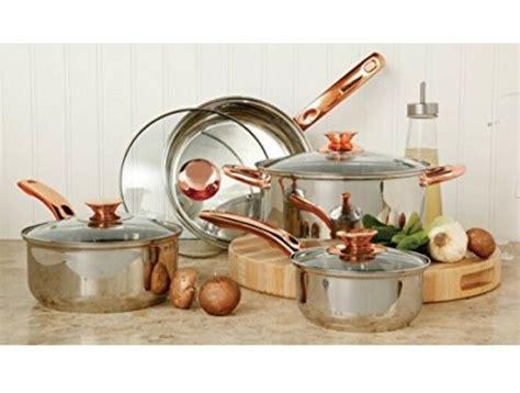 stainless steel cookware set pots  pans glass lid sauce copper handle  piece ebay